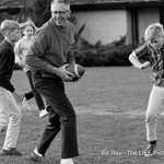 Charles Schulz plays football at home in 1967. See more photos of the Peanuts creator: https://t.co/TL5U5h2LLH https://t.co/ynbWz884vA