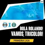 Bola rolando na Arena! Pra cima deles, Grêmio! #PrimeiraLiga #VamosTricolor #GRExCFC https://t.co/0PEqwuwArO