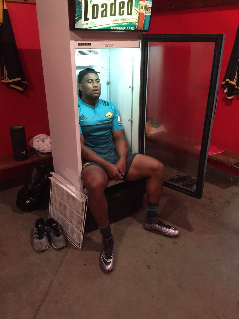 Walked inside after a hot training session in Gisborne to find #The_Bus @juliansavea7 cooling off in the fridge
