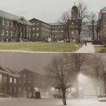 Two photos of #DalhousieU campus, both taken today #nsstorm https://t.co/4J9LyuQcOl