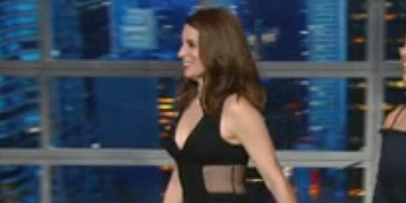 Tina Fey wears abs-baring jumpsuit (a year after flaunting her spanx) on The Late Show