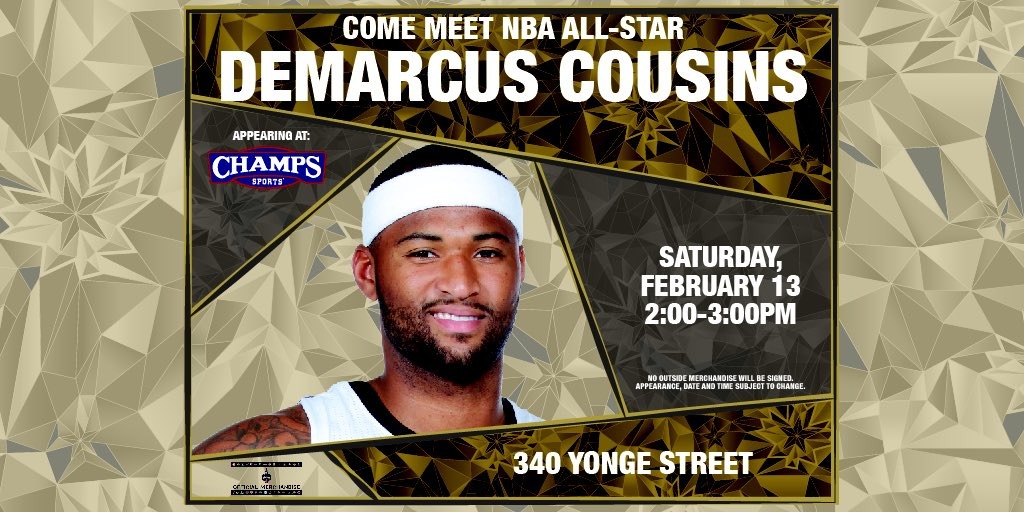 NBA FANS in Toronto! Stop by and meet me at the @champssports at 340 Yonge St, Saturday 2/13 from 2-3pm!