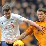 ACTION | @bsigurdarson battles it out during the first half at Molineux - #WWFCvPNEFC https://t.co/l9d6zHxSMd