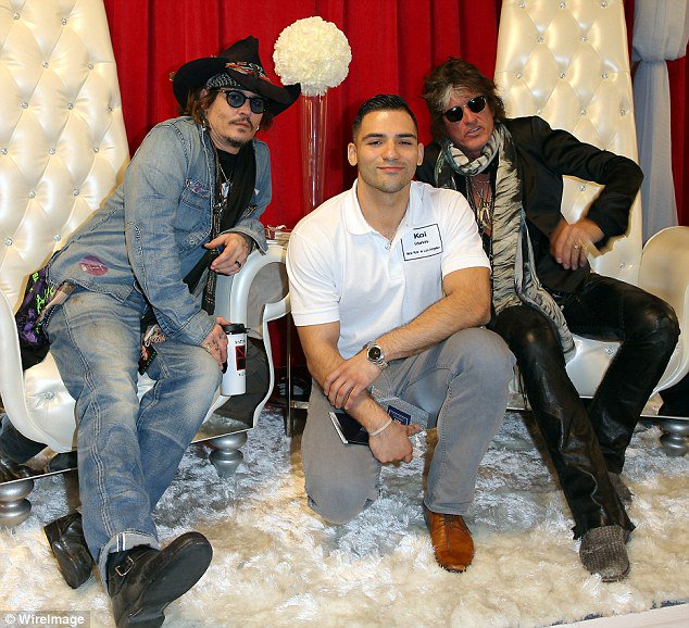 Johnny Depp and @JoePerry of The @hollywoodvamps attends the GRAMMY Gift Lounge  Photo Imeh Akpanudosen https://t.co/O7u52gq8Kz