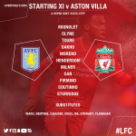 Today's #LFC starting line-up and substitutes v @AVFCOfficial in full… https://t.co/JrDUuYxizx