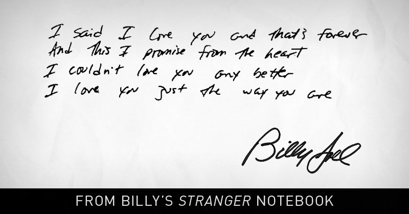 "Billy's note to you, mention your Valentine below & listen here for ""Just The Way You Are"": https://t.co/5qnCo0yMkz https://t.co/mCHkzvgbZI"
