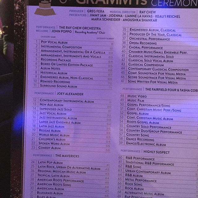 Here is a partial list to the pre-show telecast. (h/t anafan on Pulse) #GRAMMYS https://t.co/sACMcxekdA