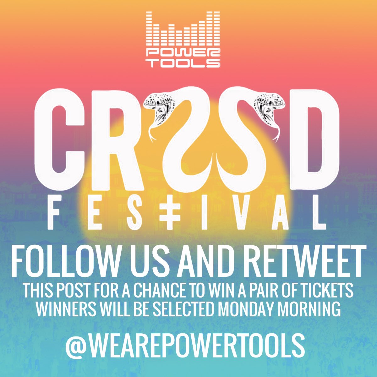 Who wants tickets to @crssdfest? Make sure you follow us and retweet!!! #wearepowertools#crssdfest #SanDiego https://t.co/UHqeNTKaD1