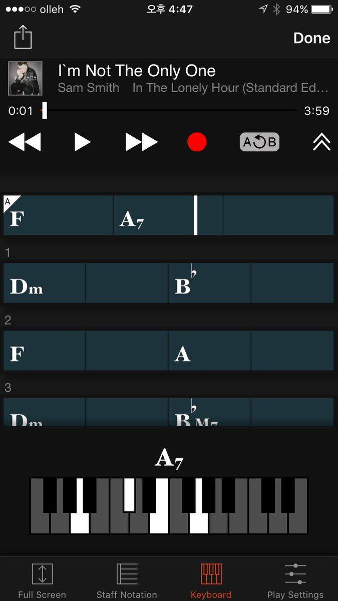 가끔 쪽지로 우리노래 코드 좀 알려줄 수 있냐는 문의가 오는데 그런분들께 기가막힌 어플을 하나 소개할게요 Chord tracker 라는 어플인데  핸드폰에 소장되어있는 음원 아무거나 선택하면 코드를 알려줍니다 https://t.co/TudfJZBzTr