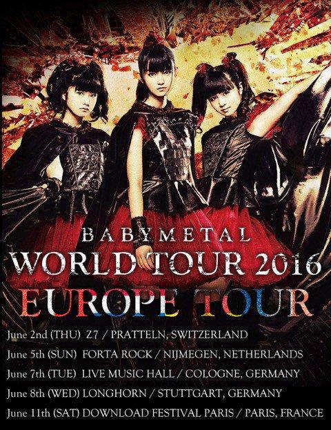 BABYMETAL、ワールドツアー日程に「DOWNLOAD FES」出演含む5公演追加 https://t.co/23GKAgWsZm #BABYMET...