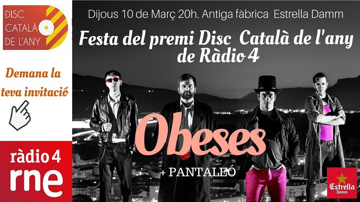 I el guanyador del del Premi Disc Català de l'any de @radio4_rne @CatalunyaExpres és el grup @Obeses!!! Felicitats! https://t.co/DW5fWGn5HA