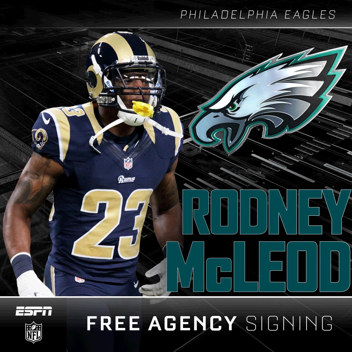 Rodney mcleod will go to the eagles on a 5 year $37 million deal