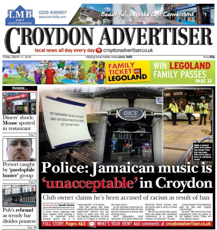 Croydon Police have made Bashment music illegal on Friday and Saturday nights... https://t.co/duz06iVXL5