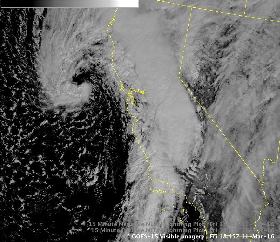 Satellite image of our storm. Front moving thru central coast & low pres spiral W of SFO. #ElNino #LArain https://t.co/bGWt7dvnOG
