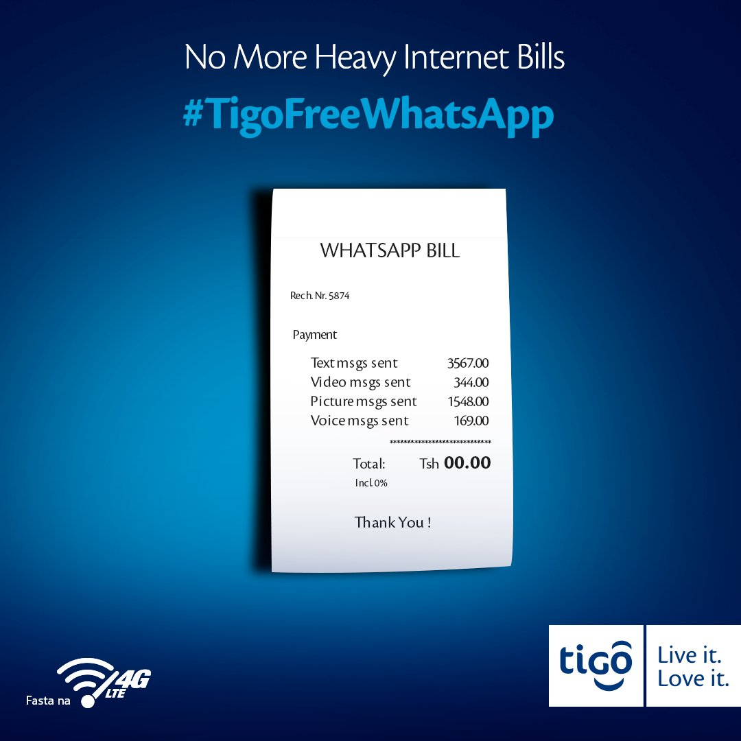 No more heavy bills with #TigoFreeWhatsApp. For more on the service click here: https://t.co/NZ1Kkq7LBK https://t.co/tpXAtcWrGw