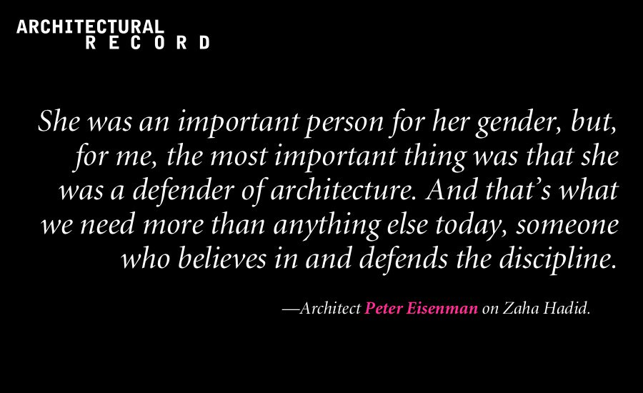 Architect Peter Eisenman on #ZahaHadid. More: https://t.co/cpSTPvdxQk https://t.co/IeBHAxNM4q