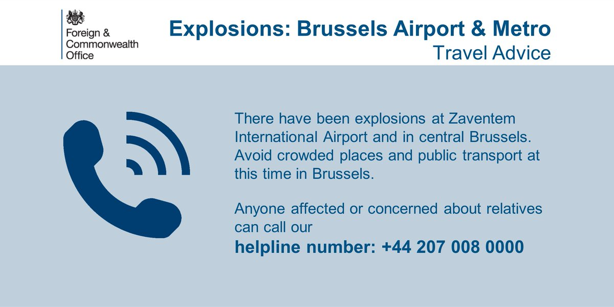#Brussels: Anyone affected or concerned about family and friends can contact our helpline on +44 207 008 0000 https://t.co/RA0EomITWB