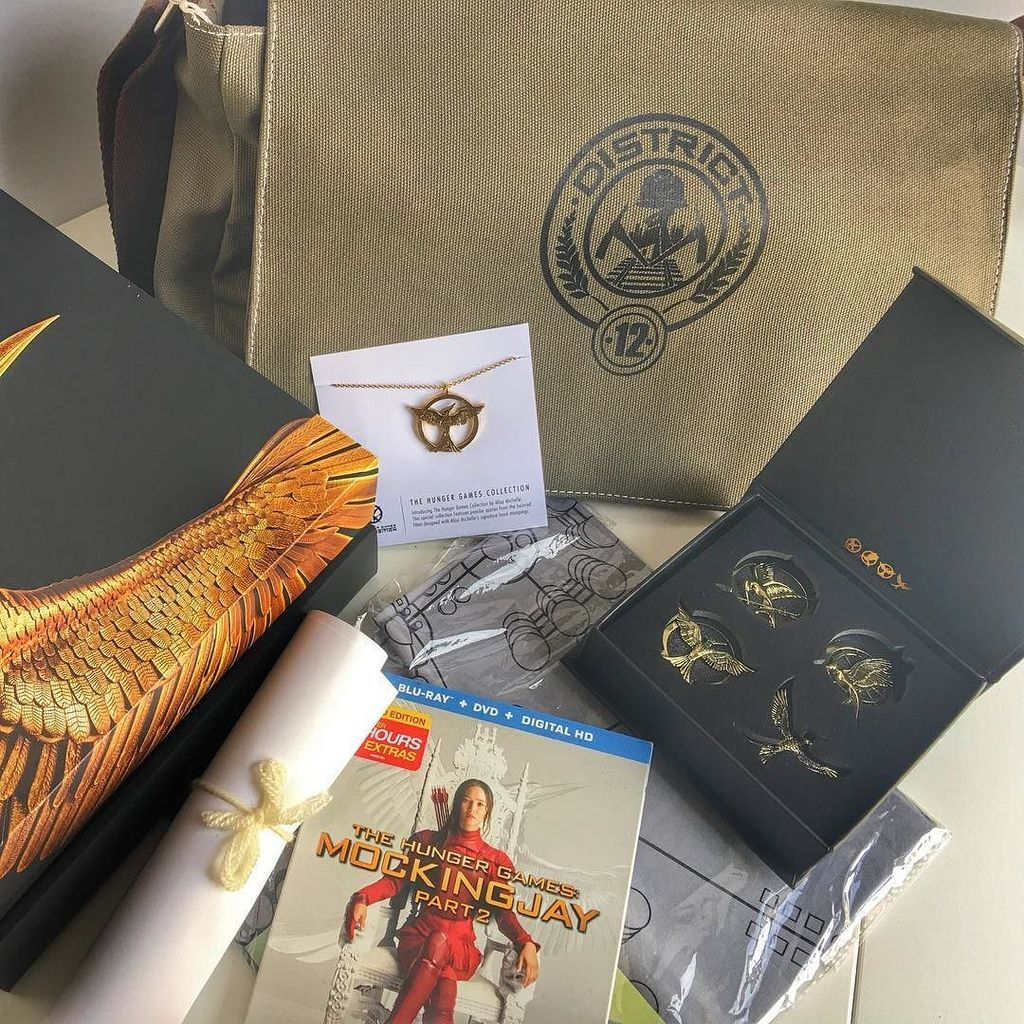 I'm loving these #MockingjayDVD goodies, especially the #District12 messenger bag! The #necklace and pins are prett… https://t.co/goVjJ086XP