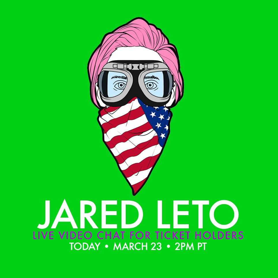 RT @VyRT: NEWSFLASH: Join @JaredLeto for a Live Video Chat TODAY, 2PM PT • Event ticket holders only! https://t.co/ykGqvYBCvM https://t.co/…