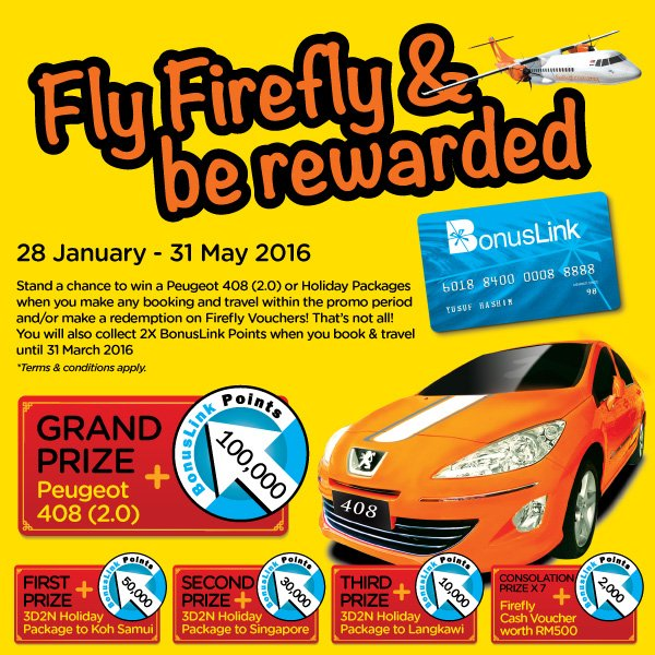 Fly more with Firefly and stand a chance to win Peugeot 2.0! For more info visit