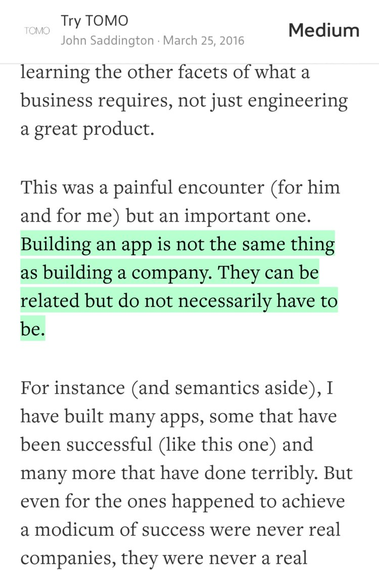 """Building an app is not the same thing as building a company."" — @8BIT https://t.co/Qa5aII3EpB https://t.co/QLd8T7bixy"