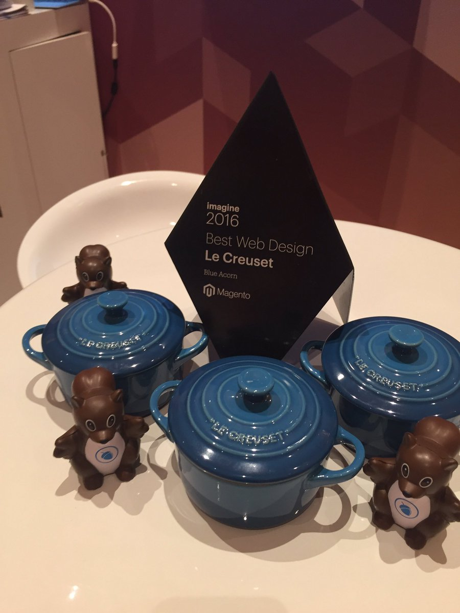 blueacorn: Morning #MagentoImagine! Check out our newest hardware- @magento Excellence Award for Best Web Design for @lecreuset https://t.co/cy7qPsL5lA