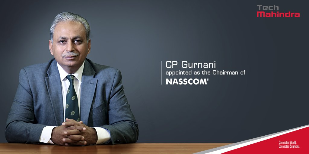 .@tech_mahindra MD & CEO, @C_P_Gurnani appointed as the Chairman of @nasscom Read: https://t.co/2h1EAaLqjD https://t.co/ykFl5S1QDW