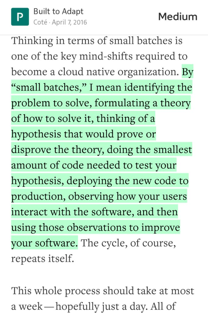 """""""Good Software is a Series of Little Failures""""  @cote on why the """"small batch"""" approach to development is better. https://t.co/EzsLhAVfTe"""