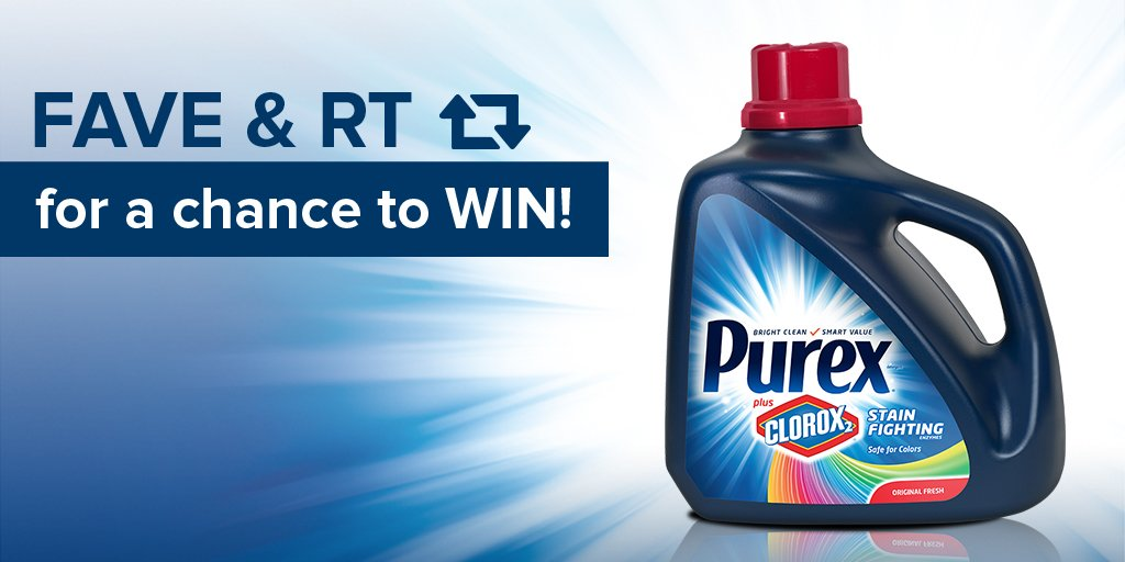 ❤ and RT this for a chance to win a coupon for a FREE bottle of Purex Plus Clorox 2! Terms: https://t.co/hEDOGunsZZ https://t.co/u0aN5hkoY8