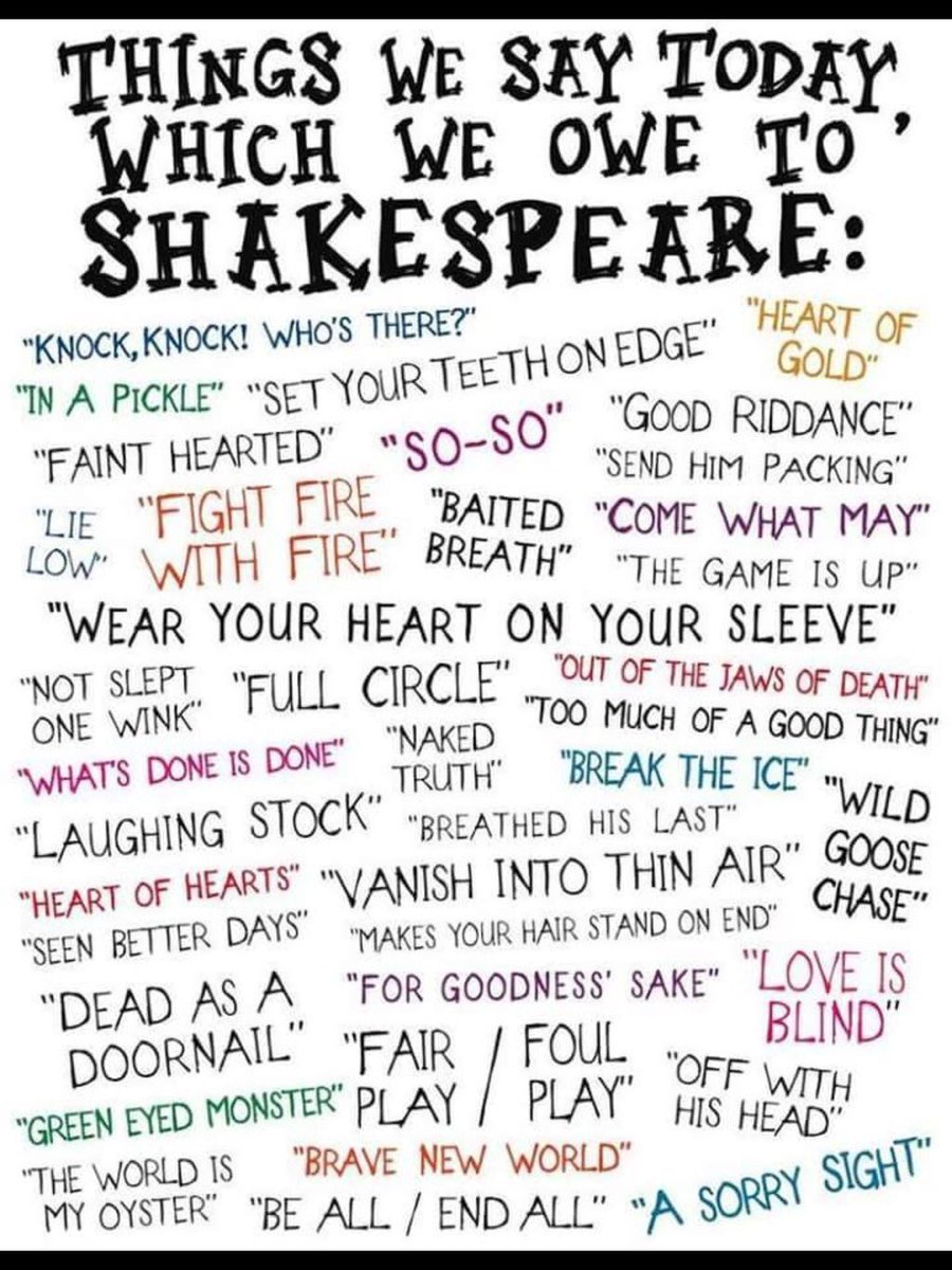Today is the 400th anniversary of Shakespeare's death & we celebrate some of the phrases he gave us #Shakespeare400 https://t.co/xdSQwMZE3E
