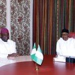 Today, President Buhari received Lagos State Governor, Mr. Akinwunmi Ambode at the Presidential Villa, Abuja. https://t.co/szNATtKgAF