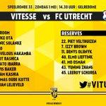 Opstelling #Vitesse voor duel vs FC Utrecht #vitutr https://t.co/73Vk8xrtK9
