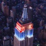 Empire State Builidng in Blue & Red lights via @EmpireStateBldg #newyork #nyc https://t.co/KsxcB889cy