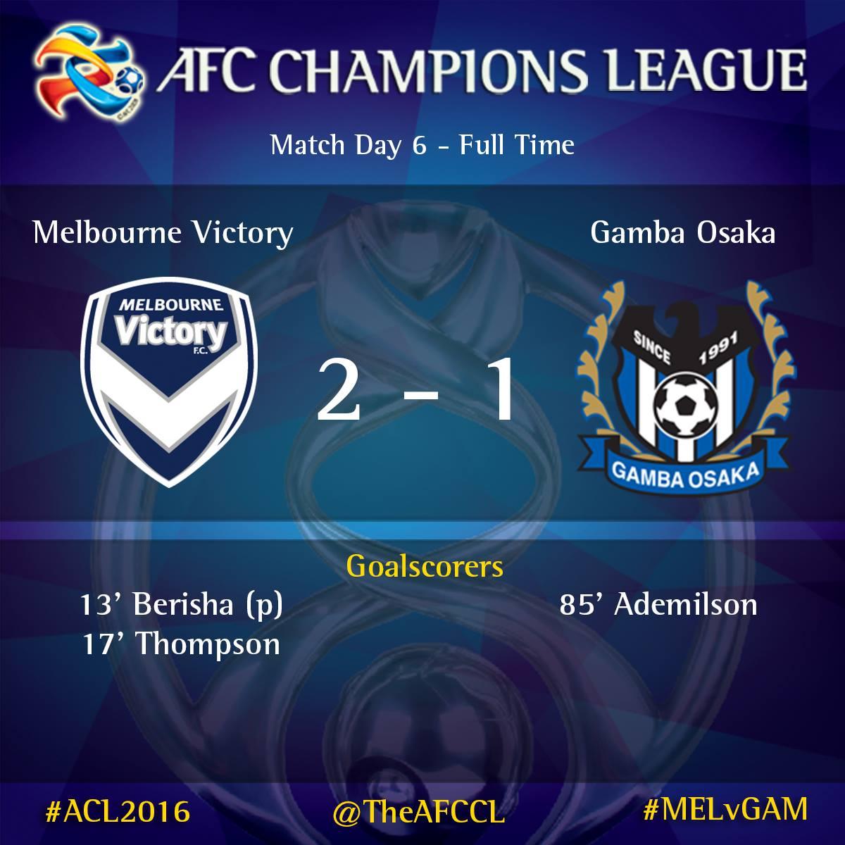 まとめ   5/3 AFCチャンピオンズリーグ2016 グループG MD6試合結果メルボルン・ビクトリーFC 2-1 ガンバ大阪(@・・・ コメント