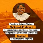 We extend gratitude to @sureshpprabhu Ji and @narendramodi Ji for accepting the request of people of Punjab. https://t.co/KLYsBnLfqy