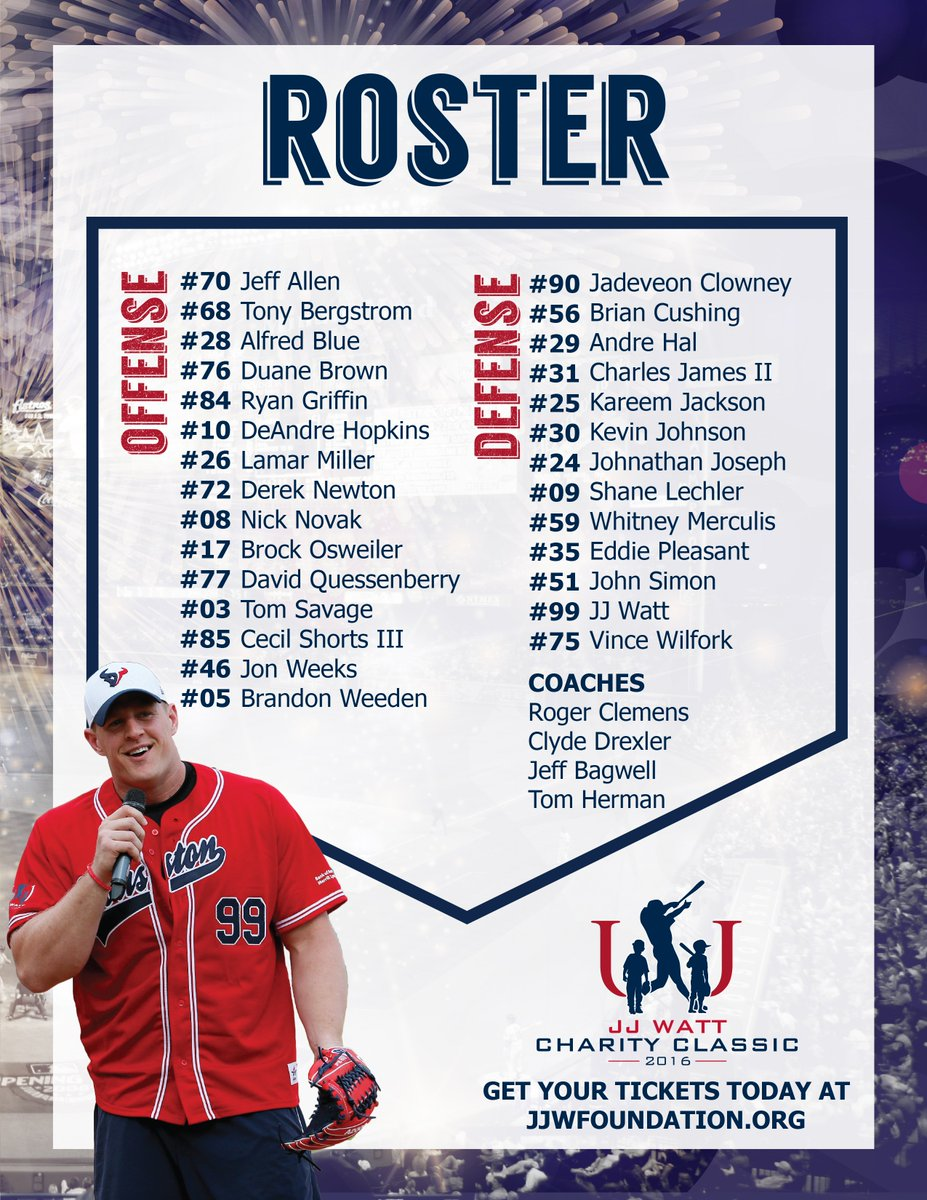 Here's the 2016 Charity Classic Roster! Who do you think will win? 5.14.16 #JJWCC2016 #SellOutMinuteMaid https://t.co/Jur5QGmYy6