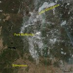 The smoke as Fort McMurray burns is visible from space; close-up at right. I hope all 90,000 folks are safe. (NASA) https://t.co/MH5LOoyJgv