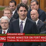 PM Justin Trudeau: Govt will match charitable donations to @redcrosscanada for Fort McMurray #cdnpoli #FortMacFire https://t.co/4gvmFHS1nZ