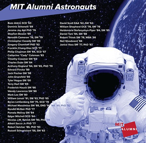 A May 5 #NationalAstronautDay salute to our @MIT_alumni astronauts. https://t.co/HkQF4xOPLv