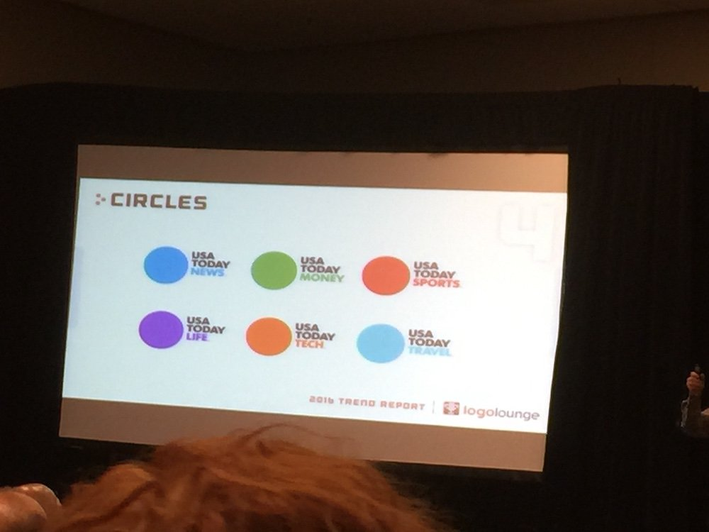 Bill Gardner of Logo Lounge: This year has seen an increase in logos with circles.  #HOWLive https://t.co/4xt47h3q3g
