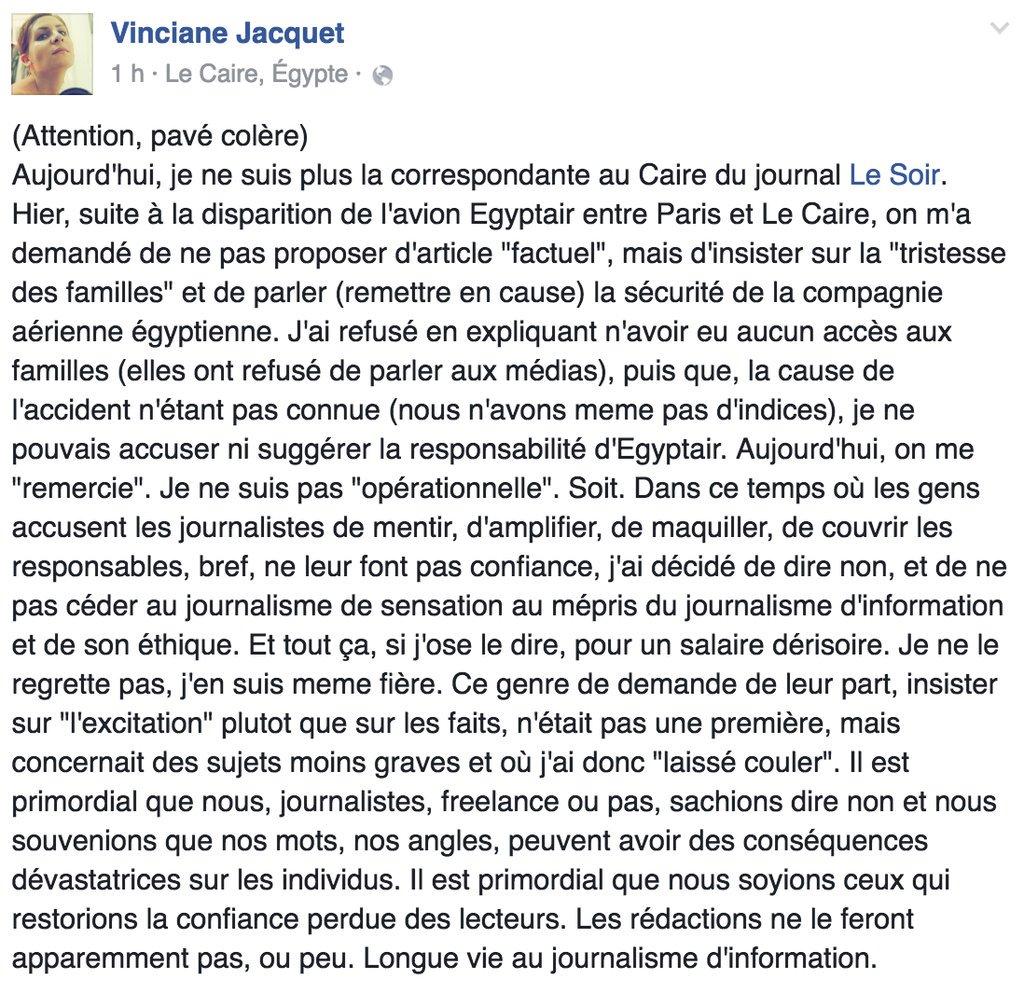 Superbe prise de position de @VincianeJacquet . Éthique, dignité, valeurs. Je dis mille fois bravo https://t.co/UJQt0SWe6E