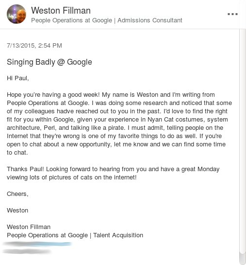 Holy smokes. A Google recruiter sent me an email using the skills listed on my LinkedIn Profile.  It is *gold*. https://t.co/1zGkDgRwku
