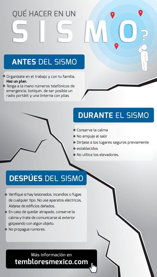 Te compartimos las recomendaciones antes, durante y después de un #temblor. https://t.co/TGm6xSMrdK