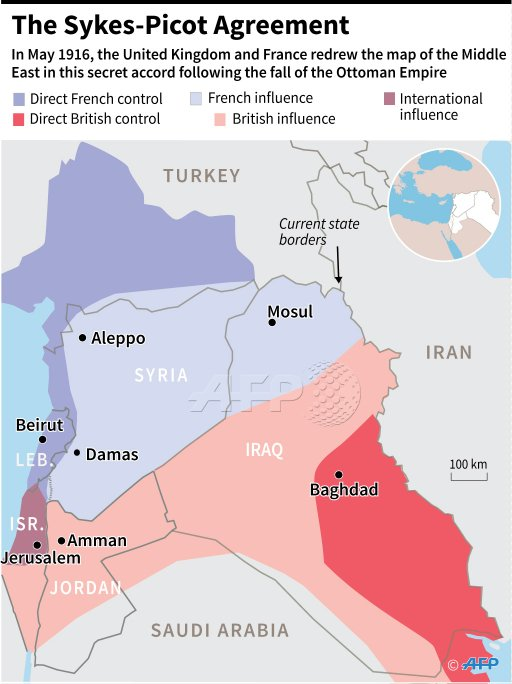 Map Showing Zones Of Control In The Middle East Set Out In The