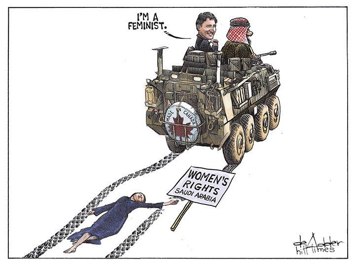 Today's editorial cartoon, via @deAdder: @JustinTrudeau the feminist. #cdnpoli #cdnfp #saudiarmsdeal #feminism https://t.co/DYoFwrR8my