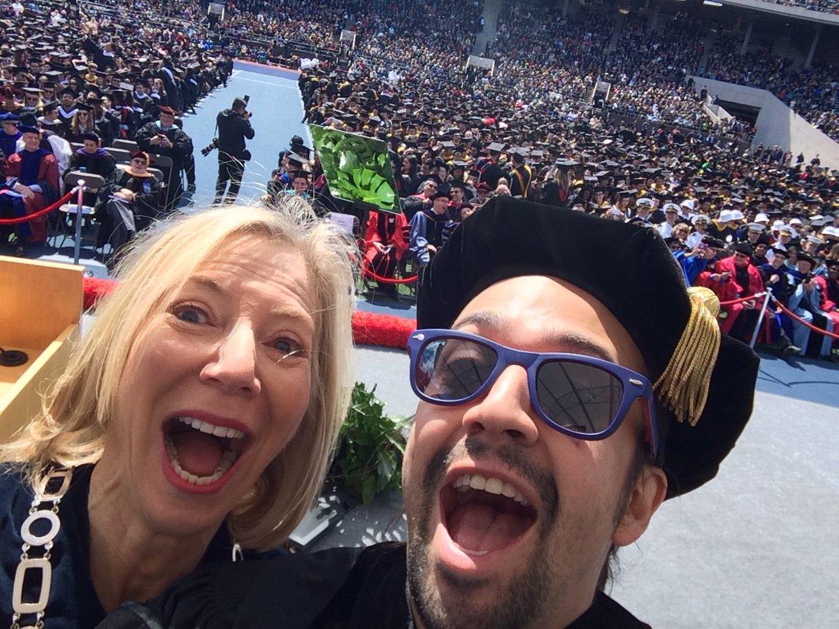 Selfie break during President Gutmann's speech. It must be nice to have @Lin_Manuel on your side! #PennGrad https://t.co/uumGJnKX7T
