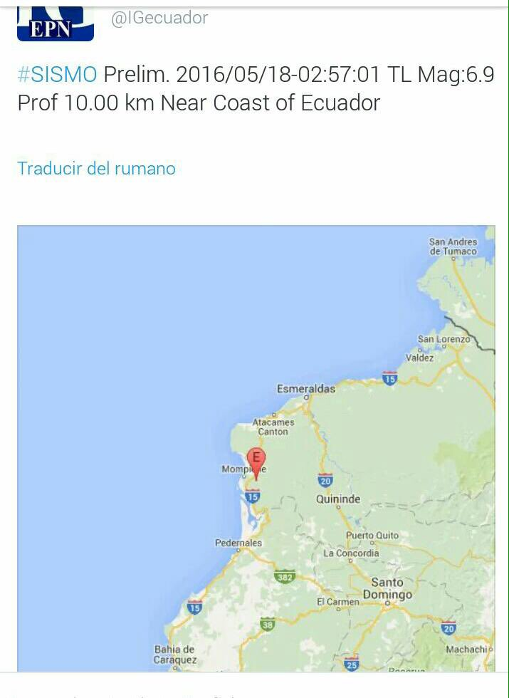 El Instituto Geofísico reporta que el sismo fue de 6.9 https://t.co/gz07eAPEwW