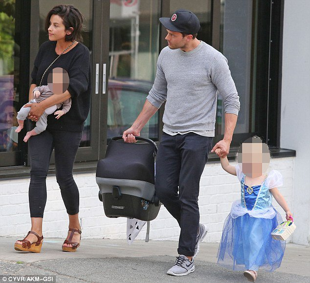 family man jamie dornan and wife amelia are seen with their newborn for the first time