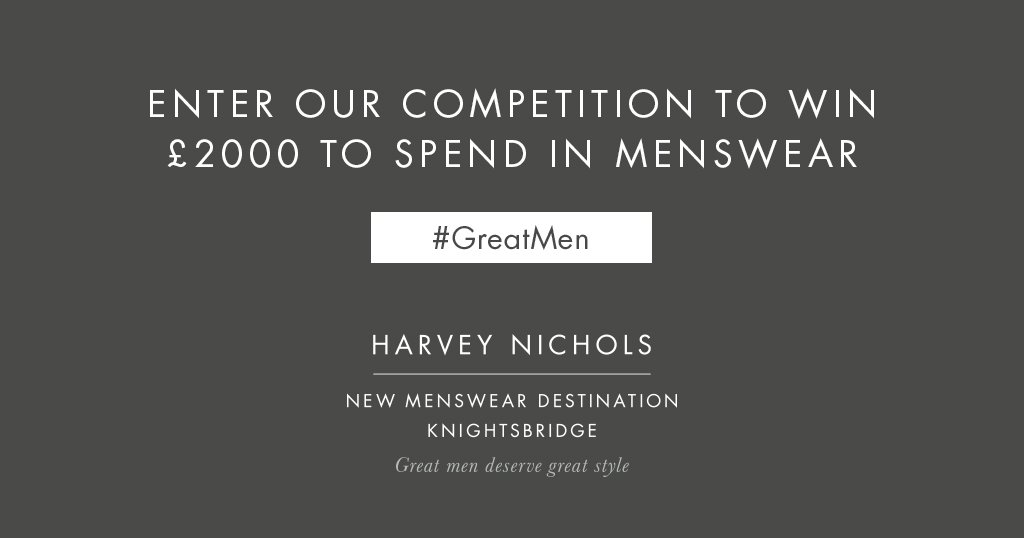 Know a great man in need of a wardrobe upgrade? Tell us using #GreatMen for a chance to #win them £2k of Menswear! https://t.co/IgXBWAg92d