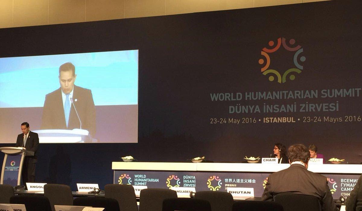 Hoy participamos en la mesa redonda sobre desastres naturales y el cambio climático.  #CumbreHumanitariaMundial https://t.co/KIABSAi6sp